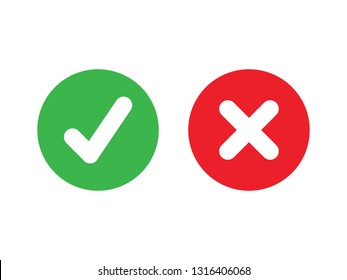 Tick and cross signs. Green checkmark OK and red X icons, Simple marks graphic design. Circle symbols YES and NO button for vote, Check box list icons. Check marks vector