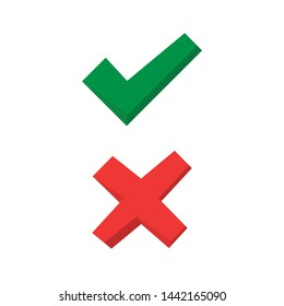 Tick and cross signs. Green checkmark and red X icons