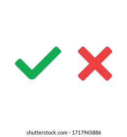 Tick and cross signs. Green checkmark and red X isolated icons. Check mark symbols.