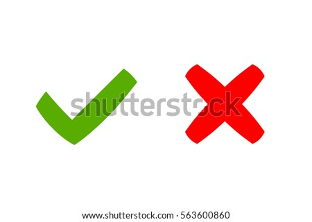 Tick Cross Signs Green Checkmark Ok Stock Vector Royalty Free