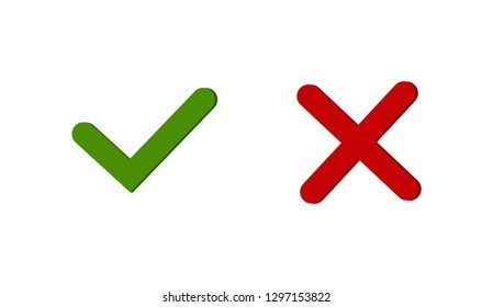 Tick and cross signs reen checkmark OK and red X icons isolated on white background YES and NO button for vote, decision vector illustration