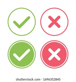 Tick and cross signs set. Green checkmark OK and red X icons, isolated on white background. Circle symbols YES and NO button. Simple marks graphic design. Vector illustration.