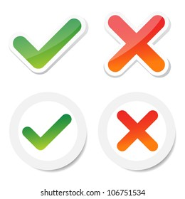 tick and cross sticker, for consumer choice.