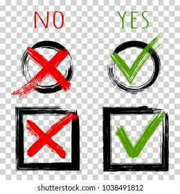 Tick and cross test signs, check mark icons design, YES or NO approve and decline symbols. Green symbolic OK checkmark, red X icon, on transparent. Round and square painted check boxes for marks.