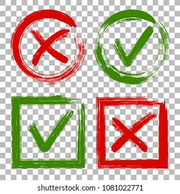 Tick and cross test signs set, check marks graphic design. Accept or decline symbol vector buttons for vote, election choice, web. Green symbolic OK checkmark, red X icon, isolated on transparent.