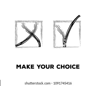 Tick and Cross Vector Collection Square Frames.  Hand Painted Check, Quizz, Voting Symbol Design. Right and Wrong, Good and Bad Query Choice Buttons. Tick and Cross as Yes and No Symbolic Marks.