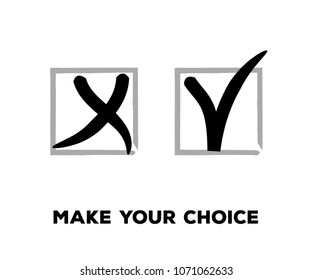Tick and Cross Vector Set in Square Frames.  Grunge Graffiti Check, Quizz, Voting Symbol Design. Ink Brush Rejection and Approval, Query Choice Icons. Tick and Cross as Yes and No Symbolic Marks.