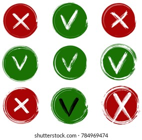 Tick and cross vector signs. Dry brush strokes.