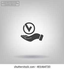 Tick with hand icon, vector illustration. Flat design style