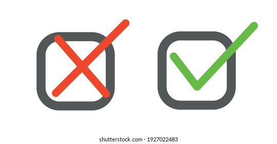 Tick icon set. Stylish check mark icon set in green and red colour on adhesive