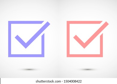 Tick icon simple accept sign vector approve illustration. Check list button icon. Check mark in box sign. Tick icon vector symbol doodle style checkmark icon.