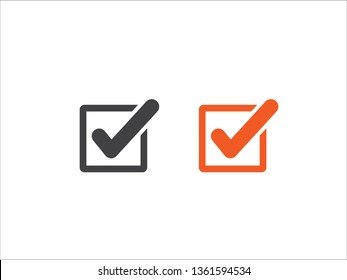 Tick icon vector, checkmark isolated on white background