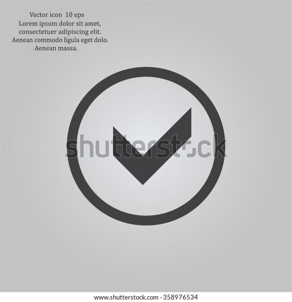 Tick icon, vector illustration. Flat design style