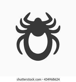 Tick icon vector. Mite sign isolated on white background. Encephalitis skin parasite silhouette. Flat design illustration adapted for web, website, mobile app