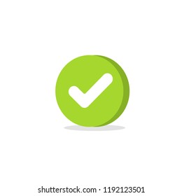 Tick icon vector symbol, cartoon green 3d checkmark isolated on white, checked icon or correct choice sign in round shape, check mark or checkbox pictogram