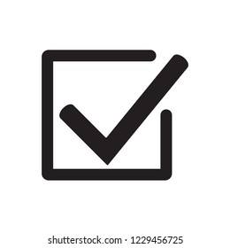 Tick icon vector symbol, checkmark isolated on white background