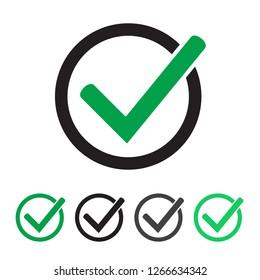 Tick icon vector symbol, checkmark isolated on white background. Green checkmark icon.