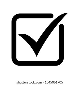 Tick icon vector symbol, checkmark isolated on white background, checked icon or correct choice sign, check mark or checkbox pictogram