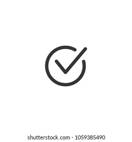 Tick icon vector symbol doodle style checkmark isolated on white background