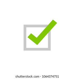 Tick icon vector symbol, flat cartoon green checkmark isolated on white background, checked or approve icon or correct choice sign, square check box mark or checkbox pictogram clipart