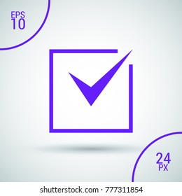 Tick isolated minimal vector icon. Checkbox flat line icon for websites and mobile minimalistic flat design.