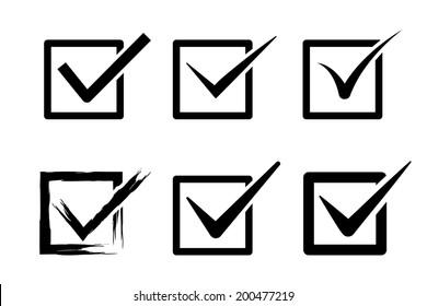 tick (mark) box icons. vector set. eps8