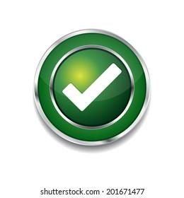 Tick Mark Circular Green Vector Web Button Icon
