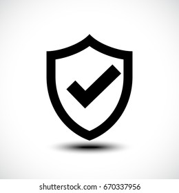 Tick shield security icon. Vector illustration.