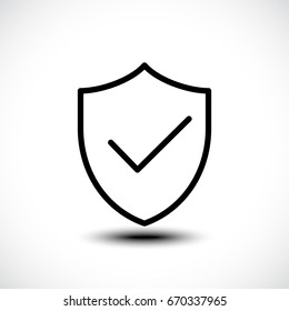 Tick shield security icon. Vector illustration.