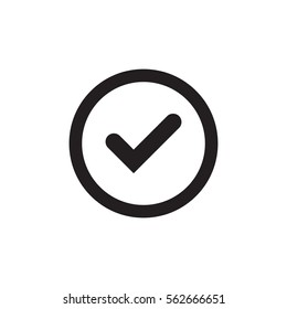 Tick sign black element. Gray checkmark icon isolated on white background. Simple mark design. Circle shape OK button for vote, decision, web. Symbol of correct, check, approved Vector illustration