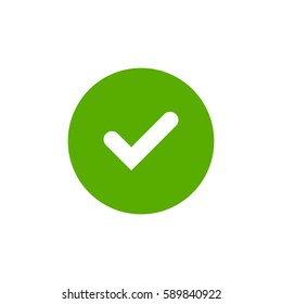 Tick sign element. Green checkmark icon isolated on white background. Simple mark graphic design. Circle OK button for vote, decision, web. Symbol of correct, check, approved Vector illustration