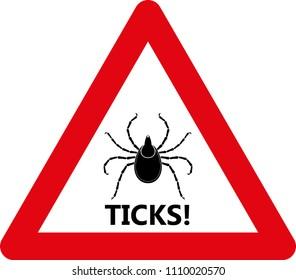 Tick warning sign. Vector Illustration