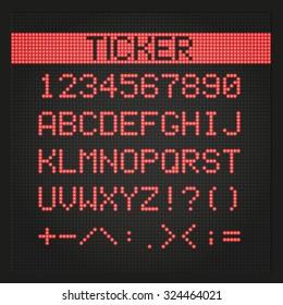 Ticker board digital font