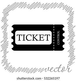 Ticket  black vector  icon