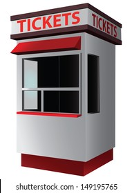 Ticket booth for the sale of tickets for attractions and sports. Vector illustration.