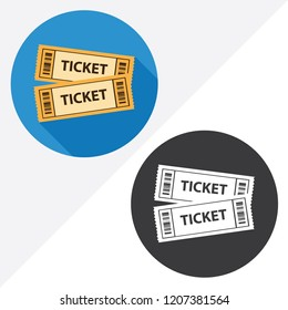 Ticket Cinema flat vector icon. Illustration of black and white icons.