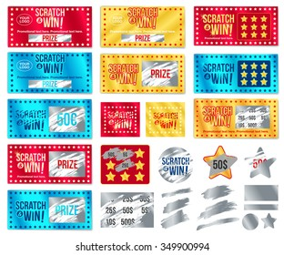 Ticket collection scratch and win. With effect from scratch marks. Vector.