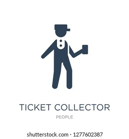 ticket collector icon vector on white background, ticket collector trendy filled icons from People collection, ticket collector vector illustration