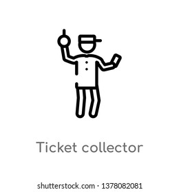 ticket collector vector line icon. Simple element illustration. ticket collector outline icon from people concept. Can be used for web and mobile