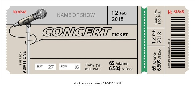ticket concert invitation. show, coupon, ticket. pass admission entry entrance.
