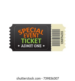 Ticket for entrance to the special event.  Template of Admission Ticket Card.