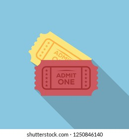 Ticket Flat Design Enterta... Icon with Side Shadow