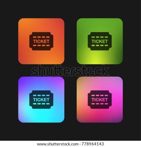ticket four color gradient app icon stock vector royalty free