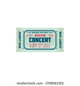 Ticket grand concert hall world famous music show isolated mockup template. Vector invitation on orchestra symphony, live music performance on stage. Full ticket admit one access to musical party