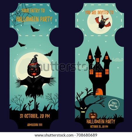 Ticket Halloween Party Invitation Template Halloween Stock Vector