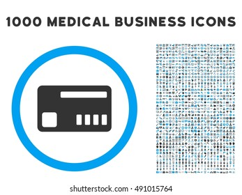 Ticket icon with 1000 medical business gray and blue vector pictograms. Clipart style is flat bicolor symbols, white background.