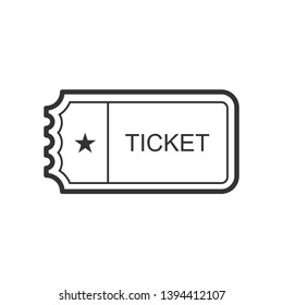 Ticket Icon. Admission, Pass or Entrance Equipment Illustration As A Simple Vector Sign & Trendy Symbol for Design and Websites, Presentation or Mobile Application.