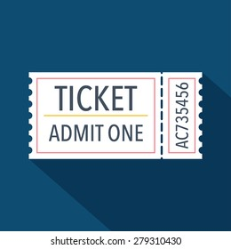 Ticket icon. Flat design. Vector illustration