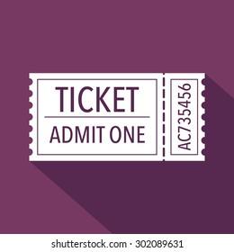 Ticket icon. Flat design. Vector illustration