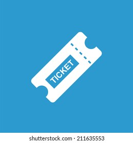 ticket icon, isolated, white on the blue background. Exclusive Symbols